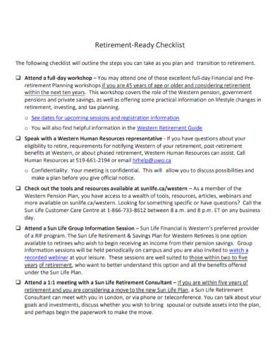 retirement ready income checklist