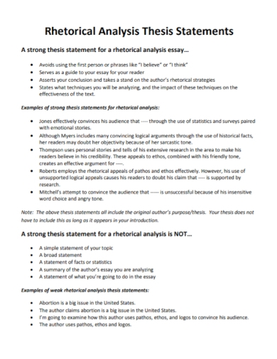 rhetorical analysis thesis statement