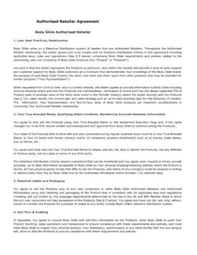 sample authorized retailer agreement
