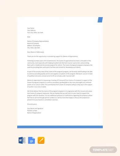 sample proposal letter for funding