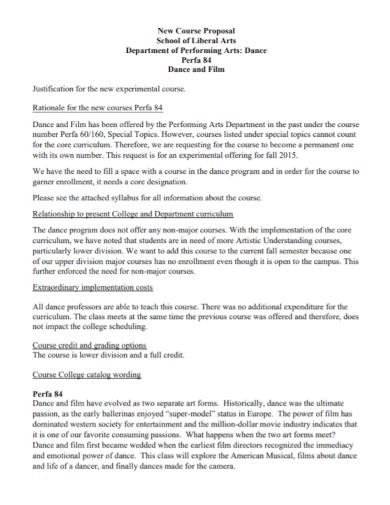school dance course proposal