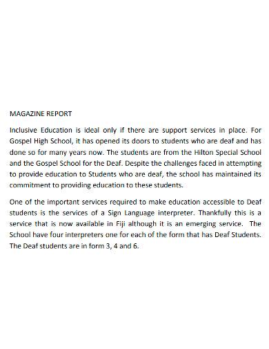 school magazine report