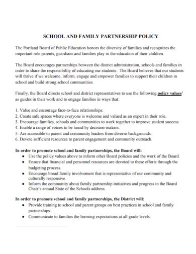 school partnership policy