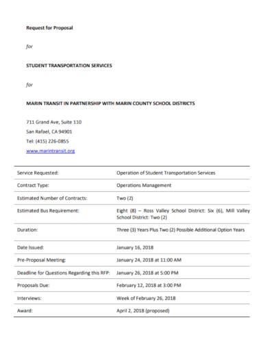 school partnership transport request for proposal