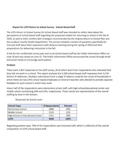 school staff survey return report