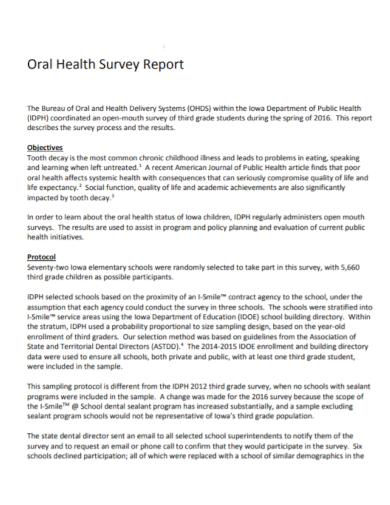 school student health survey report
