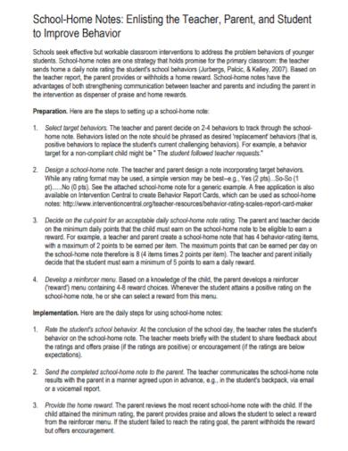 school teacher home notes