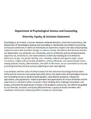 science university equity statement