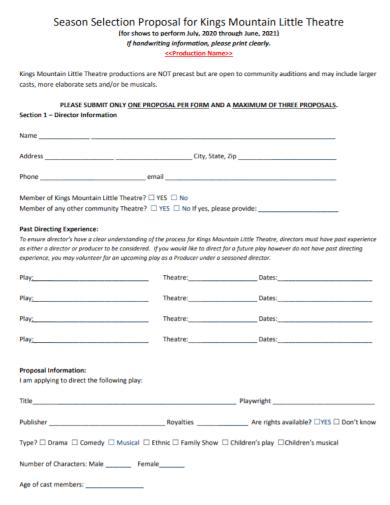 season theatre selection proposal