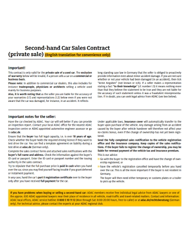 second hand car sales contract