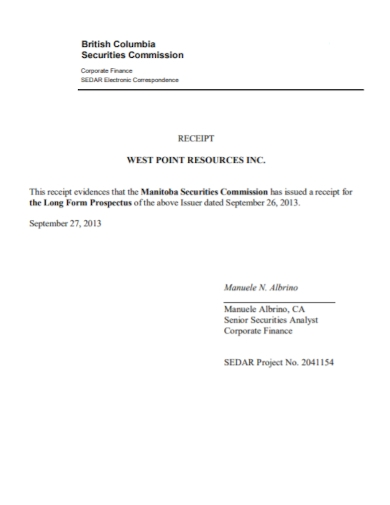 securities commission receipt
