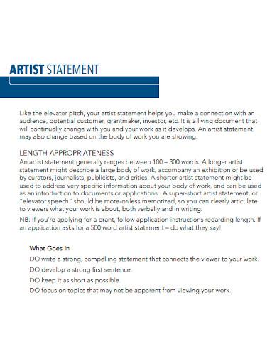 short artist personal statement