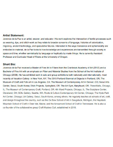 short artist statement and bio
