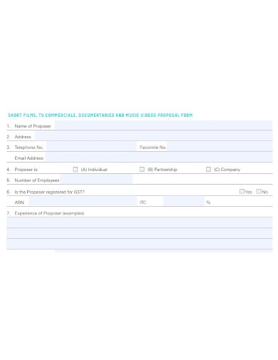 short film proposal form