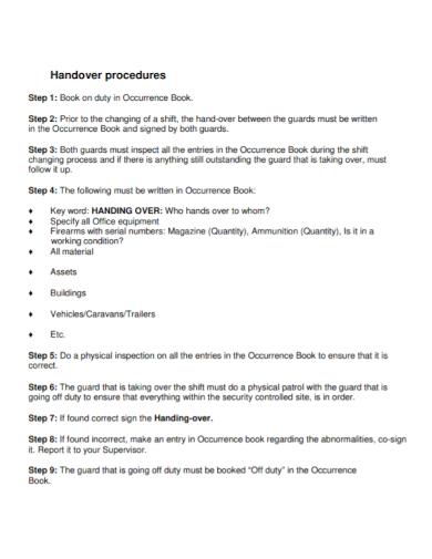 short handover procedure note