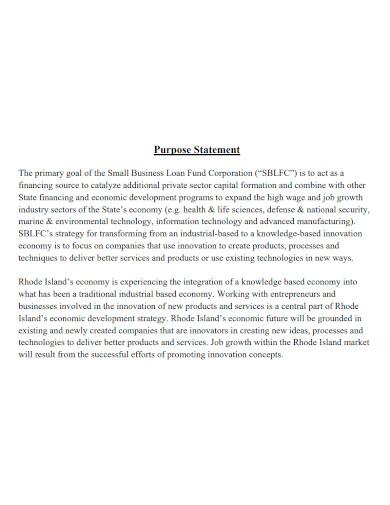 small business purpose statement
