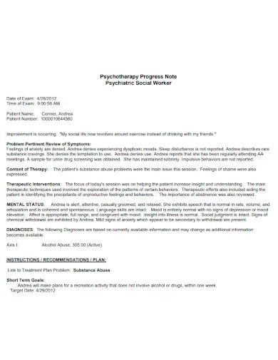 social worker progress note