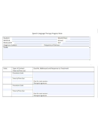 speech language therapy progress note