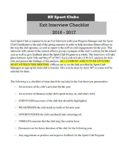 sports club exit interview checklist
