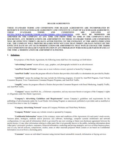 standard automobile dealer agreement