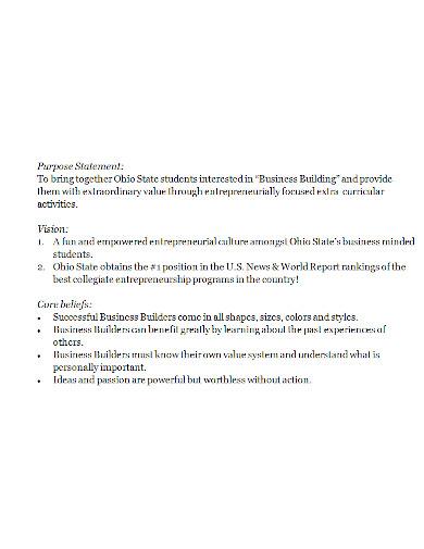 standard business purpose statement