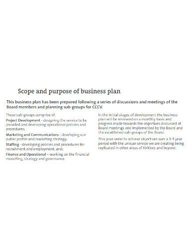 standard co operative business plan