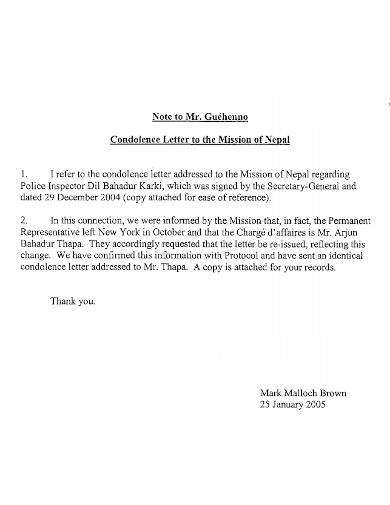 standard condolence note and letter