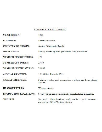 standard corporate fact sheet