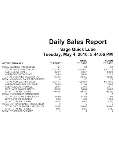 standard daily sales report