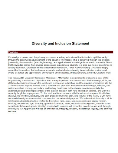 standard diversity and inclusion statement