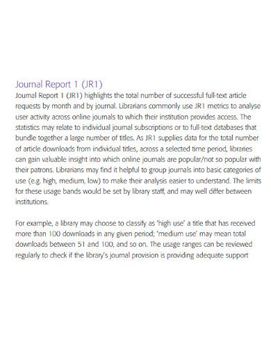 standard journal report