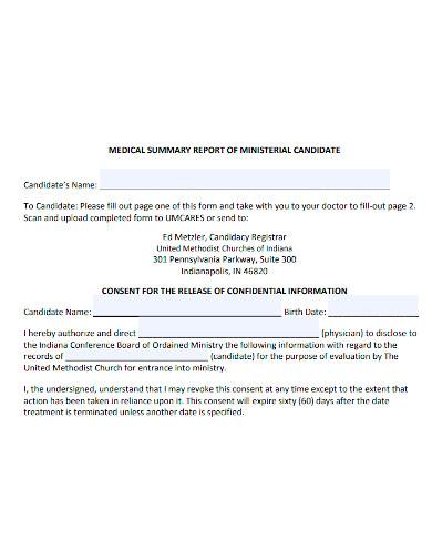 standard medical summary report