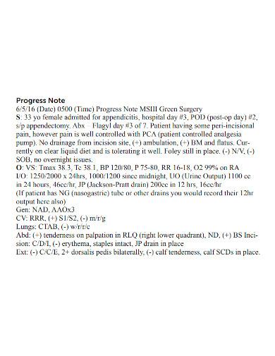 standard patient progress note