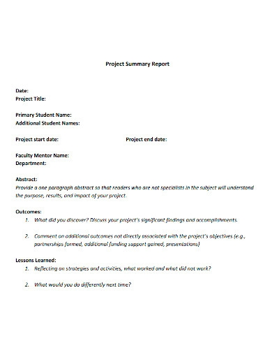 standard project summary report