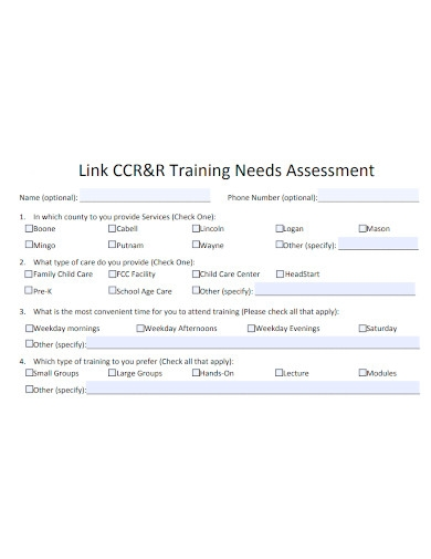 standard training needs assessment form