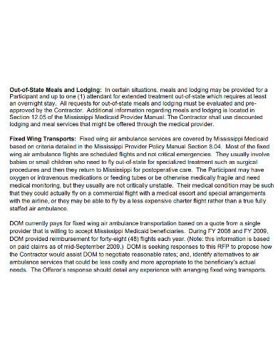 standard transport service proposal