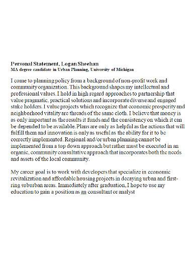 standard university personal statement