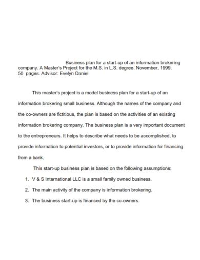 start up business project plan