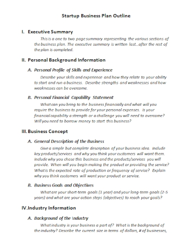 startup business outline plan