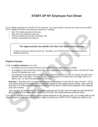 startup employee fact sheet