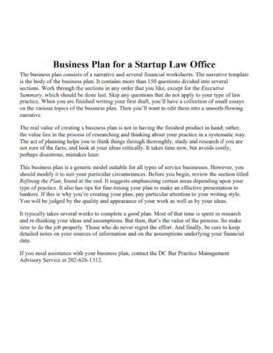startup law office business plan