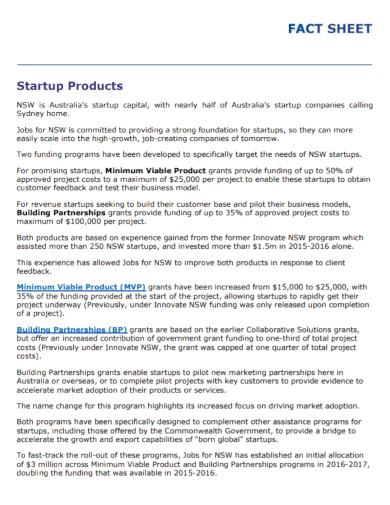 startup products fact sheet