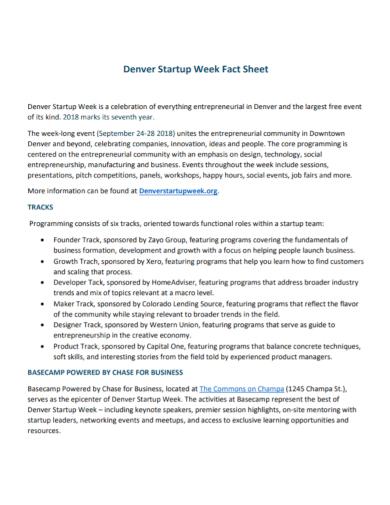 startup week fact sheet