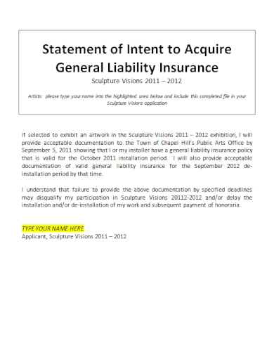 statement of intent to acquire insurance