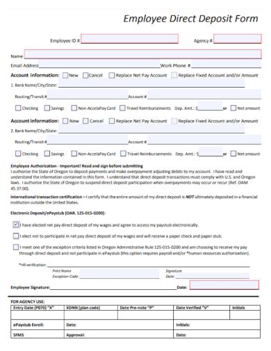 stop employee direct deposit form
