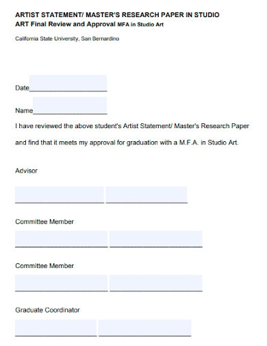 student artist statement approval