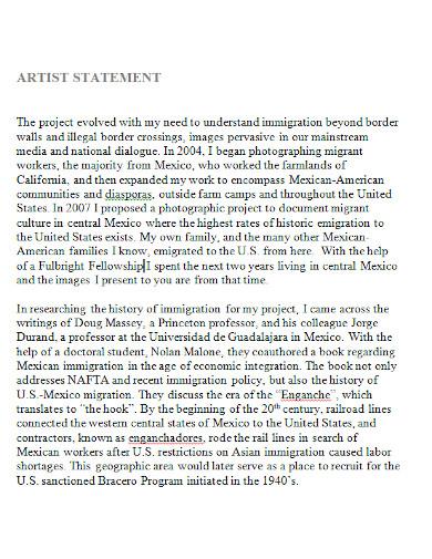 student artist statement format