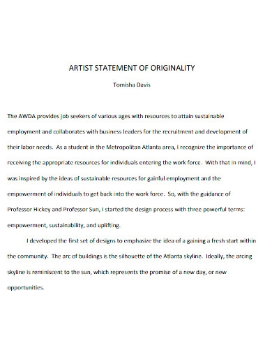 student artist statement of orginality
