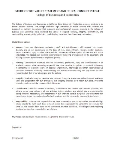 student core ethical conduct statement