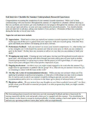 student exit interview checklist